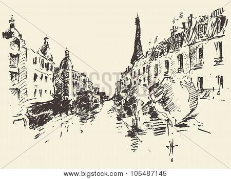 Streets Paris France vintage illustration drawn