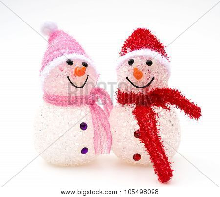 Two Smiling Toy Christmas Snowman