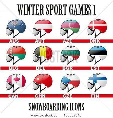 Set of Ski snowboard helmets goggles icons of the flag different countries. Winter Sport Vector Illustration isolated on white background poster
