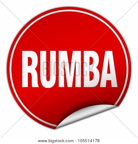 Rumba Round Red Sticker Isolated On White