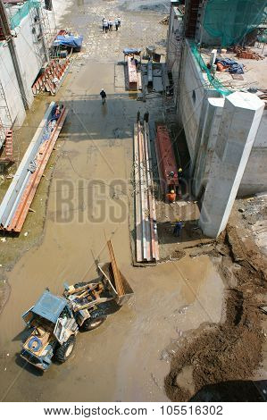 Asian, Construction Site, Dredge, River Bed, Rigation System