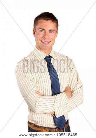 Casual attractive young business man isolated on white