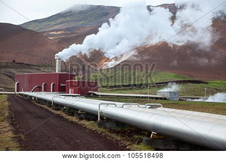 Pipes and steam of geothermal power Station in Iceland