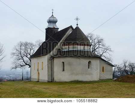 Rotunda in Goryany medieval church in Uzhhorod townunesco heritage and one of the oldest temples in Ukraine poster