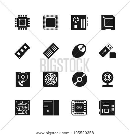 Computer chips vector icons set