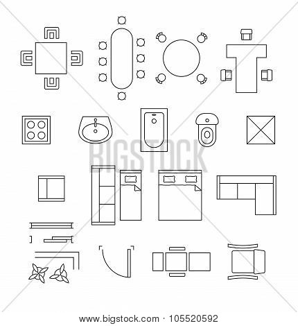 Furniture linear vector symbols. Floor plan icons set. Interior and toilet, washbasin and bath, table and chair illustration poster