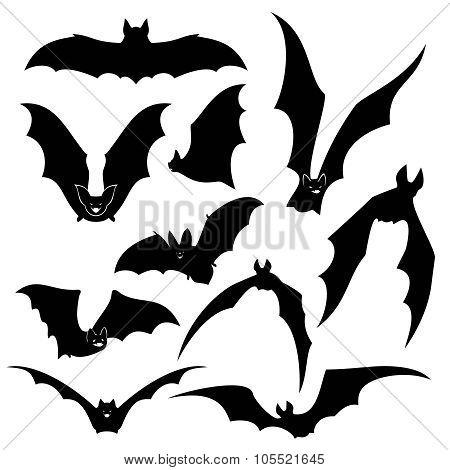 Black bats vector silhouettes set