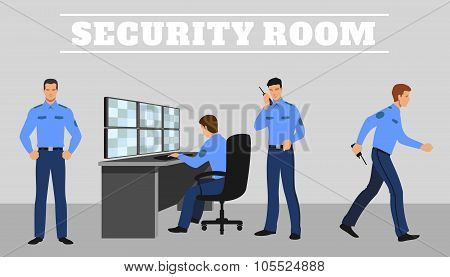 Security room and working guards. Vector concept illustration
