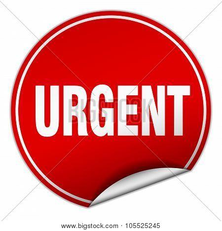 Urgent Round Red Sticker Isolated On White