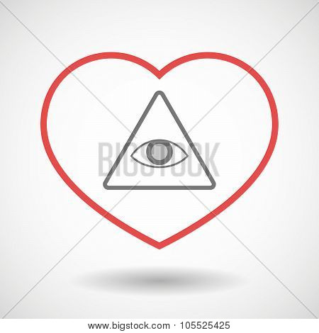 Illustration of a line hearth icon with an all seeing eye poster