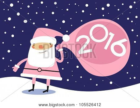Vector 2016 Happy New Year background . Cartoon santa claus and numbers.
