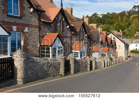 Row of cottages in Beer Devon England UK English coastal village on the Jurassic Coast