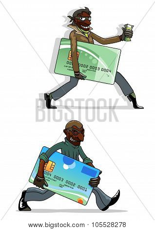 Cartoon thieves with bank cards and money
