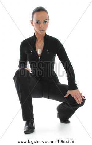 Woman In Squatting Position