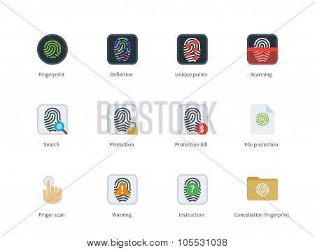 Fingerprint color icons on white background