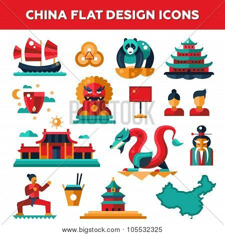 Set of flat design China travel icons, infographics elements with landmarks and famous Chinese symbo