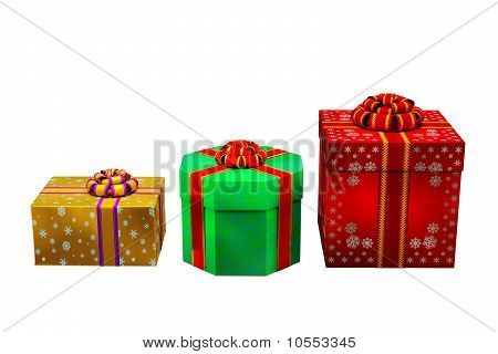 Red, Gold And Green Gift Boxes