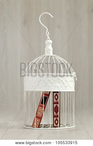 Books in a cage