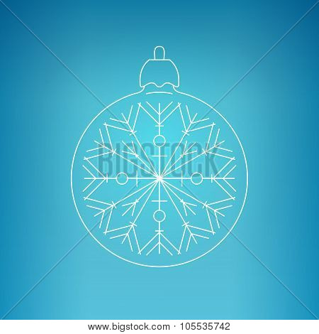 Christmas Ball With Snowflake On A Blue Background