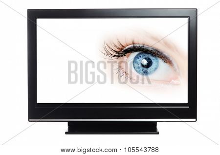 Modern HD TV showing a beautiful female blue eye