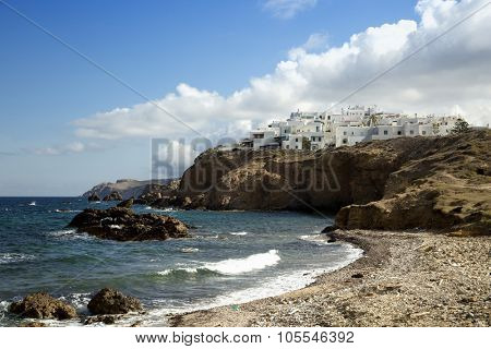 View of Grotta beach in Naxos in the cyclades, Greece