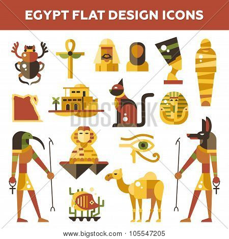 Set of flat design Egypt travel icons, infographics elements with landmarks and famous Egyptian symb