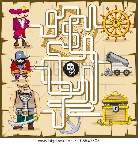Maze with pirates. Vector game for kids