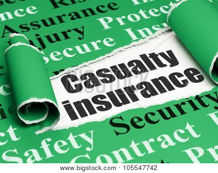Insurance concept: black text Casualty Insurance under the piece of  torn paper
