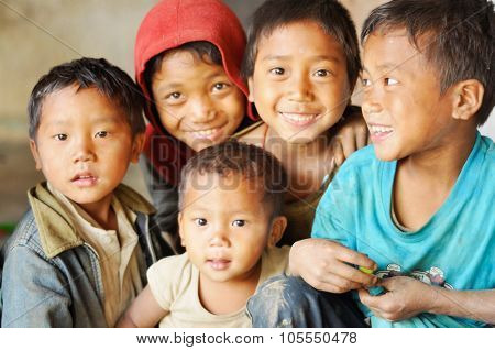 Group Of Children In Nagaland, India