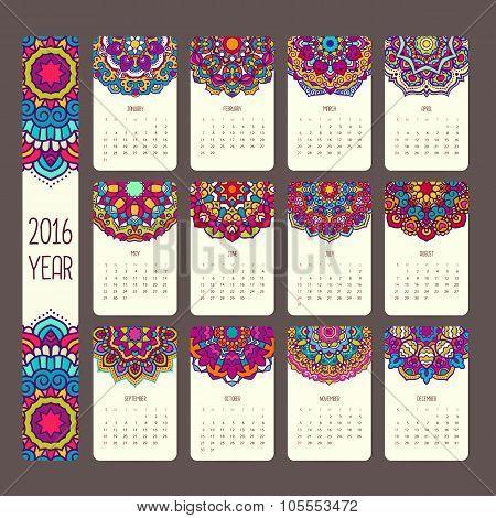 Calendar 2016 with mandalas