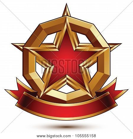 Golden Vector Stylized Round Symbol With Red Glamorous Pentagonal Star, Clear Eps 8 Insignia, Isolat