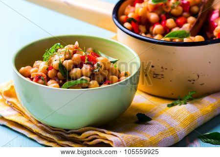 Stewed Chick-pea With Vegetables. Vegetarian Dish.