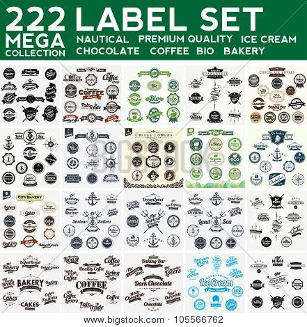 Mega Collection Label Set, Nautical,Premium Collection, Bakery, Ice Cream, Bio,  Chocolate, Coffee