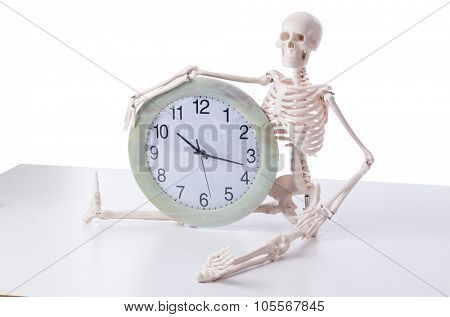 Skeleton with clock isolated on white