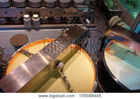 Cheese Processing Area At The Gruyere Cheese Dairy