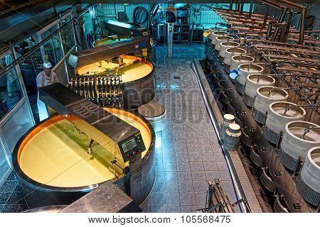 Interior Of Gruyere Cheese Factory