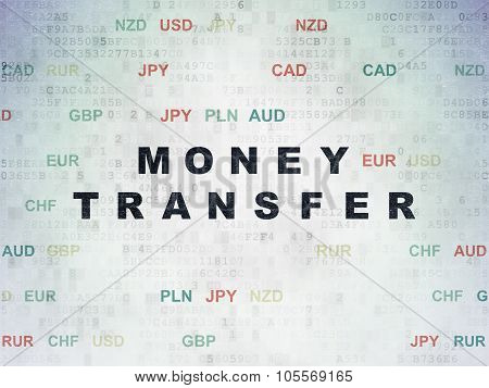 Money concept: Painted black text Money Transfer on Digital Paper background with Currency poster