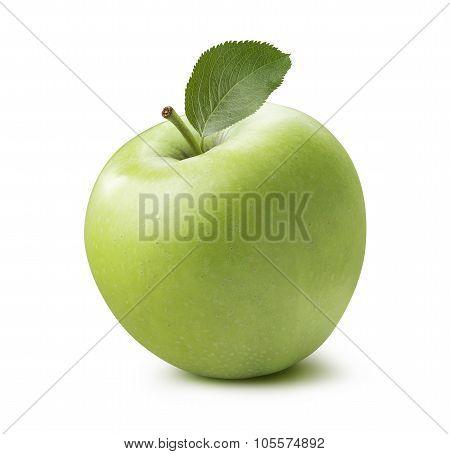 Single Whole Green Apple 2 Isolated On White Background