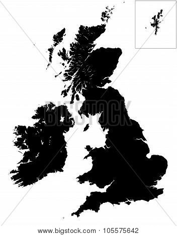 High Detail Map Of Great Britain And Ireland