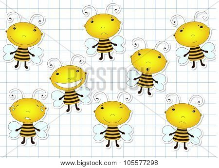 Funny Cute Cartoon Bee. Emotions: Sadness, Joy, Laughter, Sarcasm, Cry, Smile