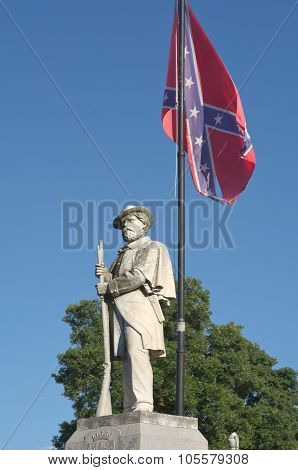 Civil War Monument With Confederate Flag