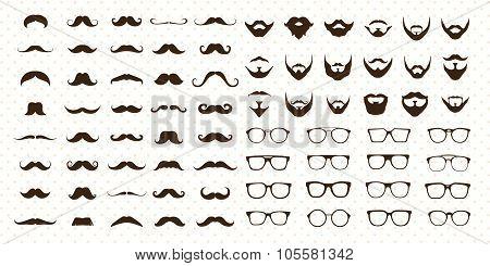 Mustaches, Beard and Sunglasse style set