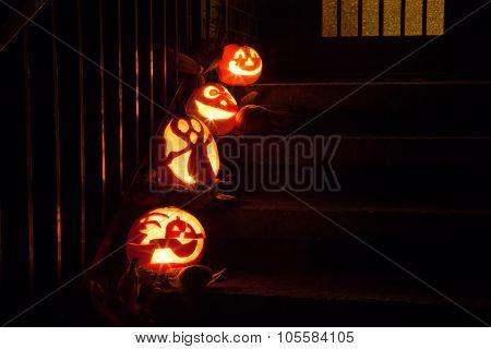 Halloween Pumpkins On Door Steps