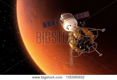 Interplanetary Space Station Orbiting Red Planet