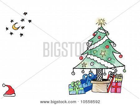 child's drawing christmas