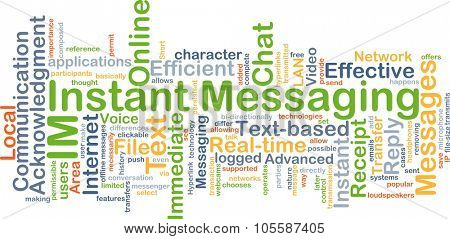 Background concept wordcloud illustration of instant massaging IM