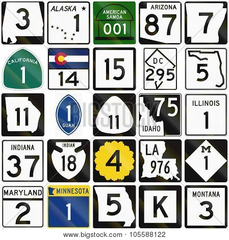 Collection Of Numbered Road Signs Used In The Usa