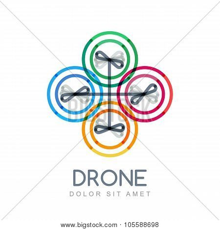 Multicolor linear illustration of flying drone. Flat style trendy vector logo design. Quadrocopter icon isolated on white background. poster