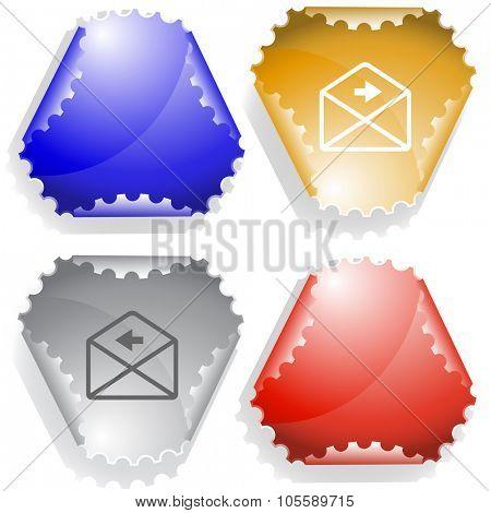 mail left arrow. Raster sticker.