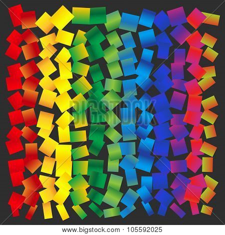 Vector Abstract Background - Rainbow Squares Randomly Arranged
